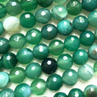 15 Inch Green Agate 6mm Facet Round Beads